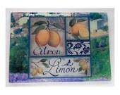 Lemons glass cutting board ,Lemons art, Lemons glass,Lemons trivet, Lemons  glass art,Vintage lemons trivet,Lemonsgift,fruit gift