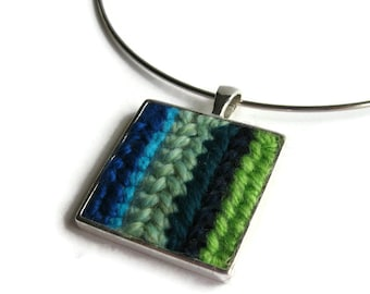 Blue Green Stripes Embroidery Pendant Cute Jewelry One of a Kind Textile, Square, Womens, Gifts for Her, Geometric, Ethnic Style, Minimalist