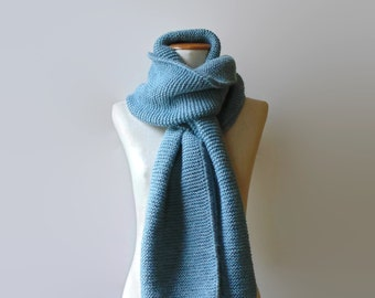 Steel Blue Scarf, Huge Scarf, Blue Gray Wool, Extra Long Scarf, Womens Scarves, Mens Scarf, Wrap Scarf, Shawl Scarf, Hand Knitted Scarf