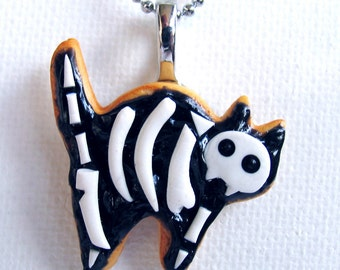Scaredy Cat Cookie Necklace - Cat - Cat Jewelry - Cat Necklace - Cat Bones - Halloween Cat - Black Cat - Halloween Necklace