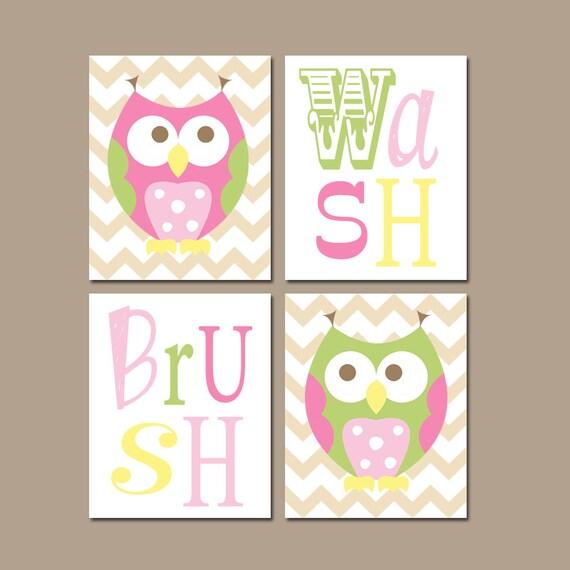 Whimsical Bathroom Wall Decor : Owl circo bathroom wall art canvas or prints funky love n