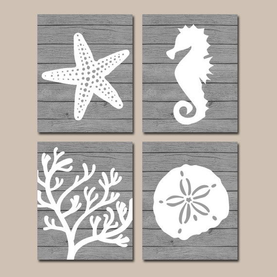 Beach bathroom wall art canvas or prints nautical coastal for Bathroom canvas painting ideas
