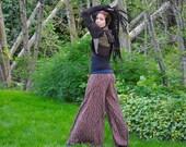 Bohemian Pants, Festival Clothing, Hippie Pants, Wide Leg, Eco Gypsy Pants, Hula Hoop Clothing, Intergalactic Apparel