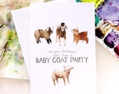 Baby Goat Party Birthday Illustrated Greeting Card