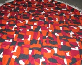 Vintage MOD 60s Burgundy Orange and Black Abstract Round Tablecloth