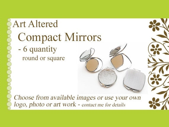 six (6) Compact MIRRORS gifts round square custom personalized party favors stocking stuffer bachelorette party save the date shower wedding