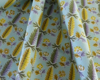 Vintage Wamsutta Cotton Print Fabric Feather or Wheat And Flower Design