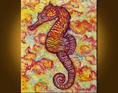 Seahorse in a Warm Sea -- 24 x 30 inch Original Oil Painting by Elizabeth Graf on Etsy, Art & Collectibles, Art Painting