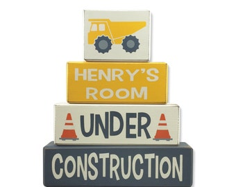 Construction zone stacking wood blocks painted sign blocks primitive wood sign blocks little boys room nursery decoration truck