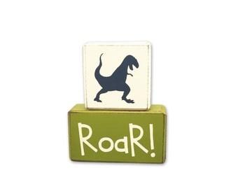Dinosaur roar sign block set, you choose your top dinosaur! Custom decor playroom nursery childs room custom unique gift T-Rex