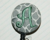 Many fabrics to design YOUR Badge Reel. Monogrammed single letter, #156