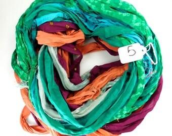 Sari ribbon, Chiffon Silk Ribbon, Multicolor Sari Ribbon, Chiffon sari ribbon, printed sari ribbon