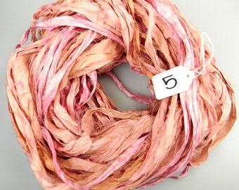Sari silk ribbon, Recycled Silk Sari Ribbon, Silk Sari ribbon,Pink sari ribbon, Rose of Sharon, Tassel supply, weaving supply,