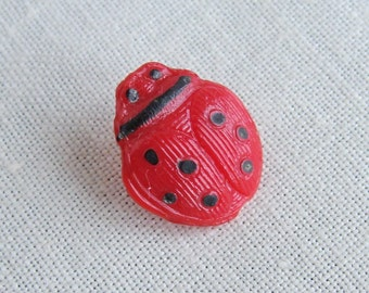 Vintage Realistic Lady Bug Glass Button