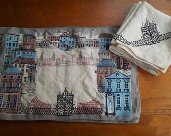 Cute vintage table linen set Old City Town Europe UK 4 placemats and 4 napkins