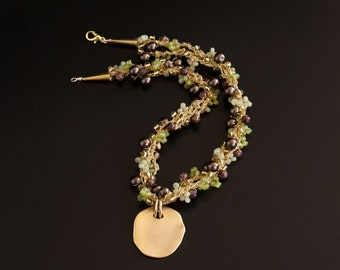 Gold Pendant on Garland Necklace with Brown Pearls, Green and Gold Seed Beads. Crocheted Gold Textured Necklace with Pendant S-310