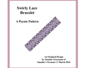 Peyote Bracelet Beading Pattern, 3 Drop, Odd Count Peyote Stitch / Swirly Lace Bracelet / Off Loom Beadwork Beadweaving Bracelet Pattern