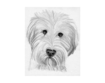Pet Portrait, Custom Dog art, Sketch From Photo, Pencil Sketch, Personalized Pet Art, Pet Memorial, Dog Drawing, DIY Printable, Inklets