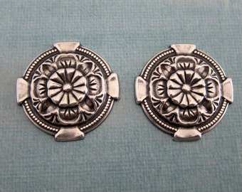 NEW 2 Silver Medallion Findings 3820