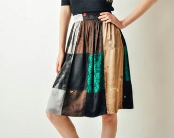 Vintage Patchwork Satin Skirt