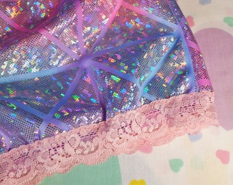 Holographic ombre hotpants, fairy kei 80s party roller derby size extra large XL