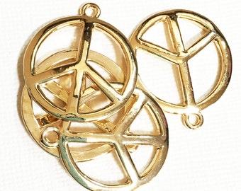 2 pcs of Gold plated peace pendant 25mm, Gold peace pendant