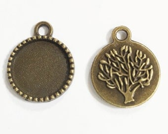 20 Antique brass flat round Cabochon setting for 14mm Cabochon , antique brass connector 20x17mm