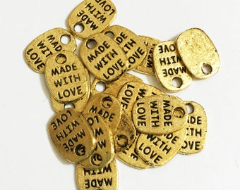 60 pcs of Antique Gold  'made with love' charm 11x8mm, gold massage charm, Bulk gold massage tags