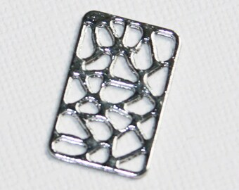 12 pcs of Silver plated  rectangle pendant 24x15mm