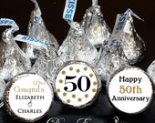 108 Hershey Kiss® Stickers - Wedding Favors, Shower Favors, Hugs® and Kisses®, 50th Wedding Anniversary - Golden Anniversary