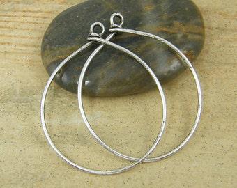 Large Antique Silver Hoop Earring Finding Wire Earring Components 16 Gauge |Nu2-13|2 XN
