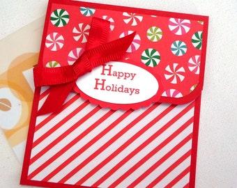 Christmas Gift Card Holder - Happy Holidays Gift Card Holder - Happy Holidays Card, Red Candy Cane Stripe Christmas Money Card, Tip Envelope