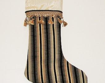 Christmas Stocking Black Cream Stripe