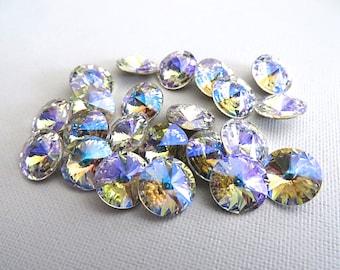 6 Crystal Glacier Blue Foiled Swarovski Crystal Rivoli Stone 1122 39ss 8mm