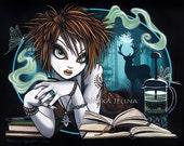 """Myka Jelina print """"Artemisia"""" signed  8""""x10"""" Nature Mugwort Tea Luna Moth Moon Stag"""
