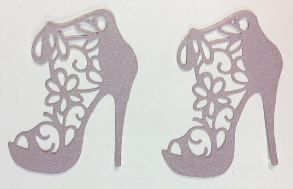 Flower Lace High Heel Pastel Lavender Glitter Die Cut 10 Pieces Elegant Feminine Embellishment Scrapbook Greeting Card Art Craft Mixed Media