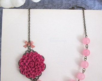 SPECIAL SALE Dark Pink Flower Necklace. Large Mums Pink Chalcedony Glass Beads Necklace. Nature Inspired Woodlands Necklace with Pink Ribbon