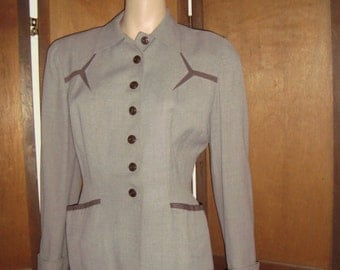 40's Fitted Jacket Grey & Brown Gorgeous