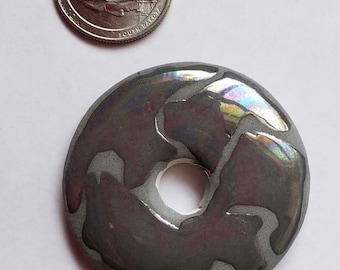 Large Ceramic Donut with unique metalic glaze,  Destash Sale D-51