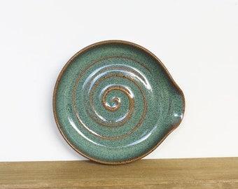 Spoon Rest Stoneware Ceramic in Sea Mist Glaze