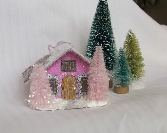 Vintage Putz Style Miniature Candy Pink Glitter House Pink Pine Trees for Christmas Village Decor or Holiday Tree Decoration Ornament
