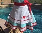 Ready to Ship, Sassy Valentine's Day Apron, Wedding Apron, I Love You Apron, Womens Misses and Plus Sizes, Something Blue Bride Apron Pin Up