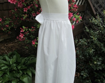 Girls White Pioneer/Prairie/Colonial Apron  Made to order ONLY.
