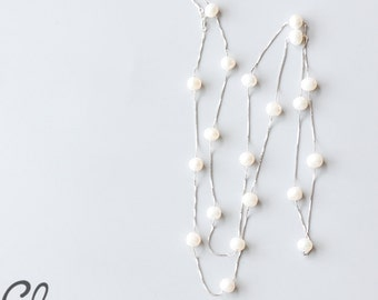Long Sterling Silver Box Chain and Fresh Water Pearl Necklace (N117)