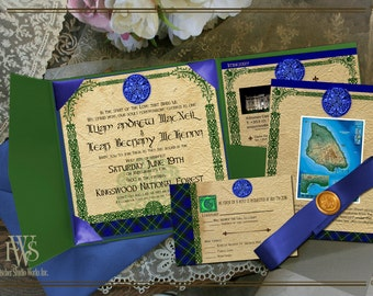 Celtic Scottish Plaid Hand Fasting style Wedding Invitation--ANY PLAID may be used!