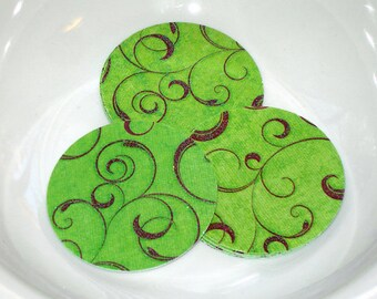 "Red and Green Glitter Christmas Flourish 2"" Diecut Circles or Sticker Set"