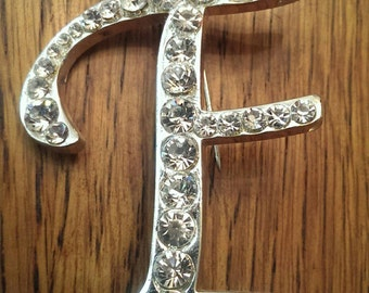 Vintage Rhinestone F Brooch Lapel Pin Initial F