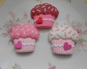 Shabby sweet pink red white Valentines  faux fake cupcakes flat back or magnet