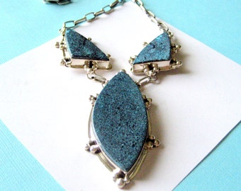 SALE..Navajo New Lander Blue Turquoise and Sterling Silver Contemporary Necklace by L James