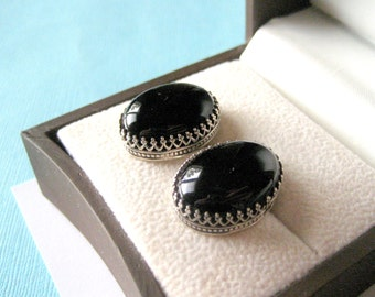 Large Sterling Silver and Onyx Scalloped Earrings